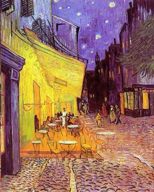 Vincent van Gogh Cafe in Paris bei Nacht